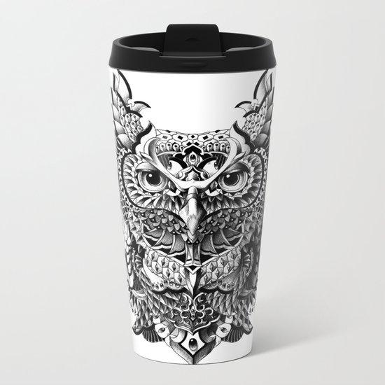 Century Owl Metal Travel Mug