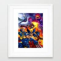 x men Framed Art Prints featuring X - MEN by Vincent Trinidad