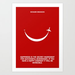 Lab No. 4 - Happiness is the secret Richard Branson Business Quotes Poster Art Print