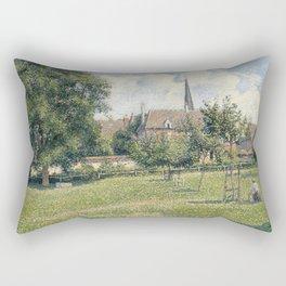 Camille Pissarro - The House of the Deaf Woman and the Belfry at Eragny (La Maison de la Sourde et L Rectangular Pillow