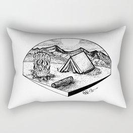 """""""Camp Sweet Camp"""" Nature Camping Original Artwork, Tent Campfire Wall Art Rectangular Pillow"""