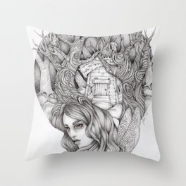 JennyMannoArt GRAPHITE DRAWING/FAIRIE Throw Pillow