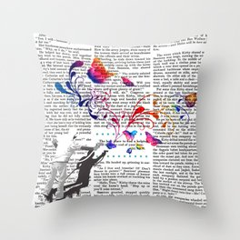 Nature's comeback graffiti Throw Pillow