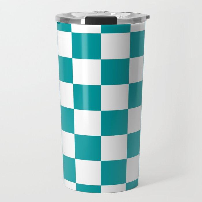 Blue, Teal: Checkered Pattern Travel Mug