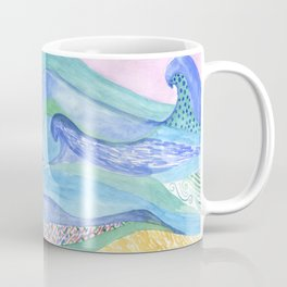 Watercolor abstarct sea and mountans background Coffee Mug