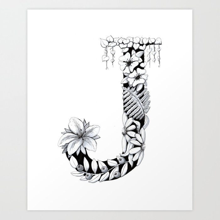 Floral Pen And Ink Letter J Art Print By Penandposy