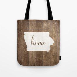 Iowa is Home - White on Wood Tote Bag