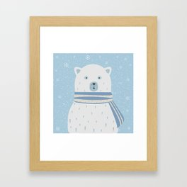 Polar White Bear with Scarf Framed Art Print