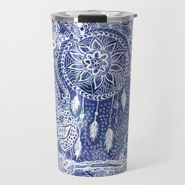 Boho blue dreamcatcher feathers floral illustration Travel Mug