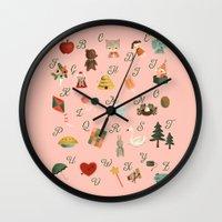 alphabet Wall Clocks featuring Alphabet by The Midnight Rabbit