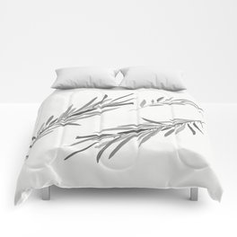 Eucalyptus leaves black and white Comforters