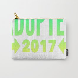 Adopted 2017 (Green to Yellow Font) T-Shirt Carry-All Pouch