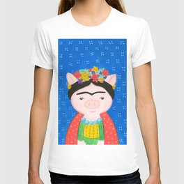 Frida pig with flowers and blue background T-shirt