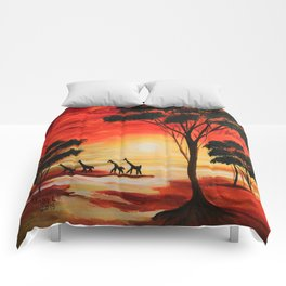 African sunset Comforters