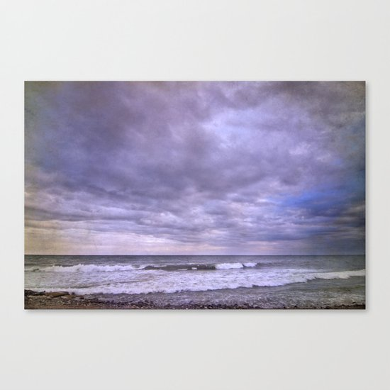 Rain storm at the sea Canvas Print