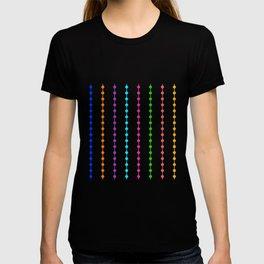 Geometric Droplets Pattern - Rainbow Colors on White T-shirt