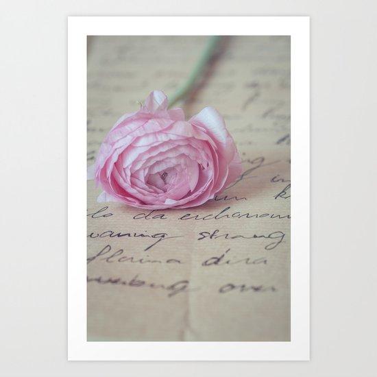 Love Letter With Ranunculus Art Print