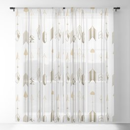 Be Brave Little Arrow (gold) Sheer Curtain