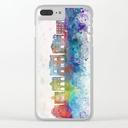 Cuenca skyline in watercolor background Clear iPhone Case