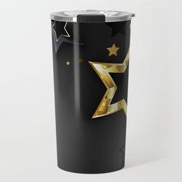 Gray Background with Black Stars Travel Mug