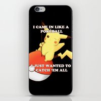 pokeball iPhone & iPod Skins featuring Pokeball by Mie Kristensen