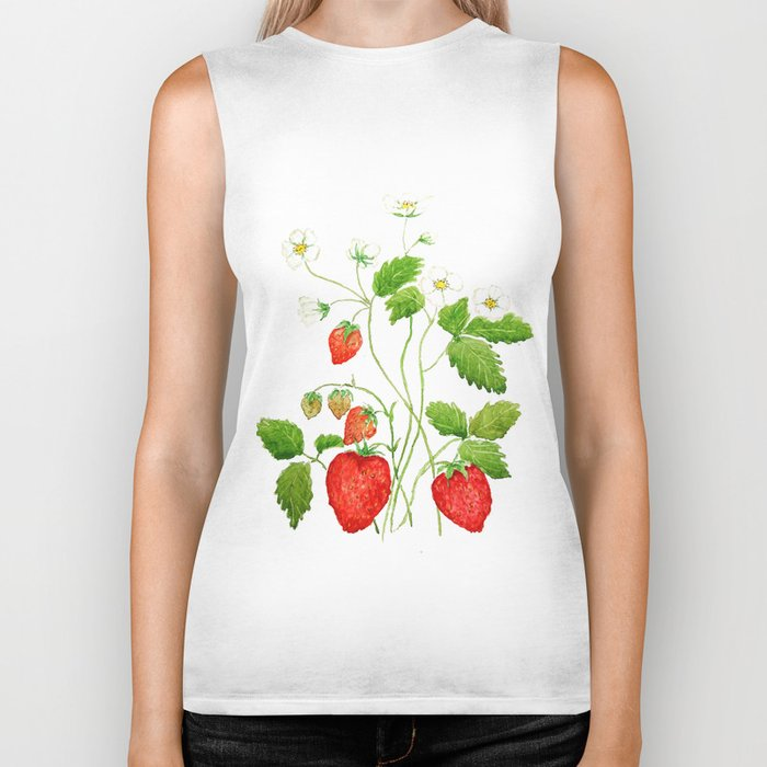 strawberry and strawberry flowers watercolor painting Biker Tank