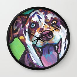 Fun Catahoula Leopard Dog bright colorful Pop Art painting by Lea Wall Clock