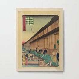 Ichiyôtei Yoshitaki - 100 Views of Naniwa: Zakoba Fish Market (1860s) Metal Print