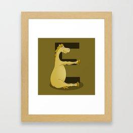 Pony Monogram Letter E Framed Art Print