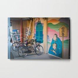 Asakusa Bike Rack Metal Print
