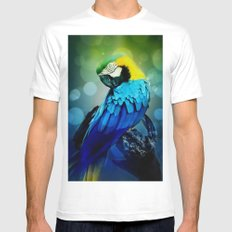 Macaw on branch Mens Fitted Tee MEDIUM White