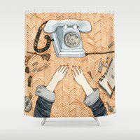 notebook Shower Curtains featuring Waiting for a call by Yuliya