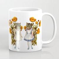 shabby chic Mugs featuring Shabby Chic Anthropomorphic Cats by Shayla Fish