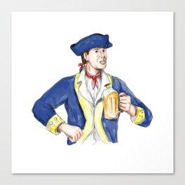 American Patriot Holding Beer Mug Toast Watercolor Canvas Print