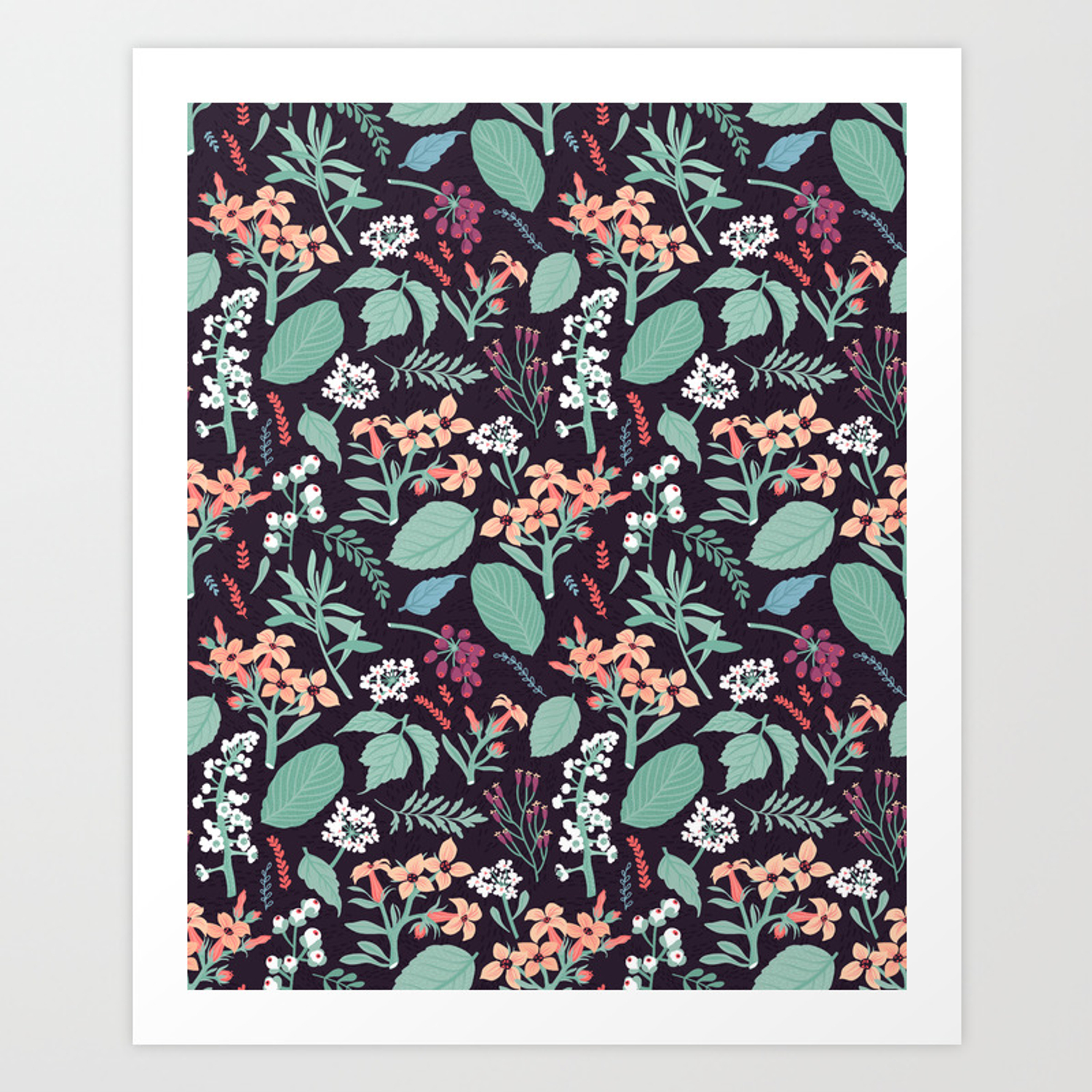Pattern With Flowers Modern Floral Background Art Print By