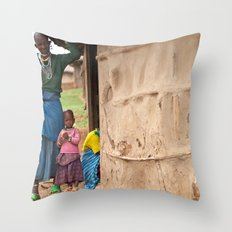 Village Life Throw Pillow