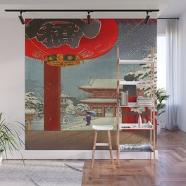 Tsuchiya Koitsu A Winter Day at The Temple Asakusa Vintage Japanese Woodblock Print Wall Mural