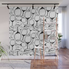 Print with wine glasses. Drawn wine glasses, sketch style. Black on white Wall Mural