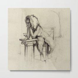 'The Unwinding' Charcoal Drawing Nude woman drinking Wine Metal Print