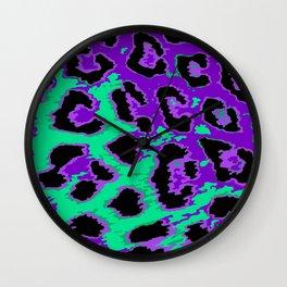 Aqua and Violet Leopard Spots Wall Clock
