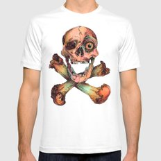 Skull in Color MEDIUM White Mens Fitted Tee