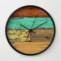 western Wall Clocks featuring Lejano Western by Diego Tirigall
