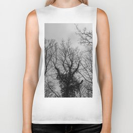 Haunting creepy naked trees in the woods, black and white Biker Tank