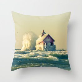 Grand Haven Pier Head Lighthouse Winter Waves off Lake Michigan Throw Pillow