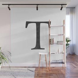 Letter T Initial Monogram Black and White Wall Mural