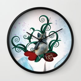Funny cute catbird Wall Clock