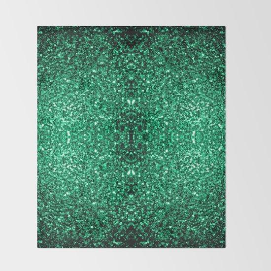 Beautiful emerald green glitter sparkles throw blanket by - Emerald green throw blanket ...