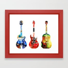 Guitar Threesome - Colorful Guitars By Sharon Cummings Framed Art Print