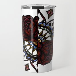 Colorful 2/4 with Roses Travel Mug