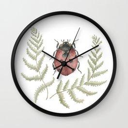 Ladybug in Botanical Ferns Wall Clock